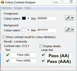 Screenshot Colour Contrast Analyser